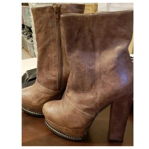 Shoes - leather high heel boots size 5